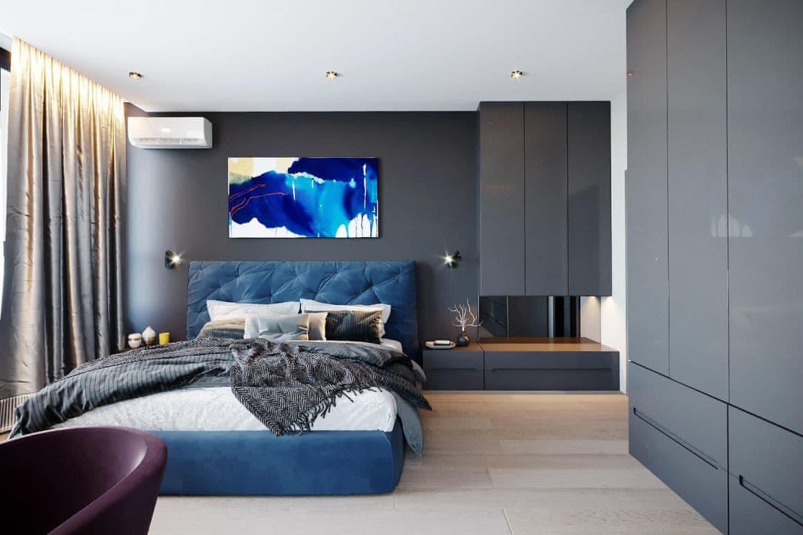 Дизайн спальни двухкомнатной квартиры-студии