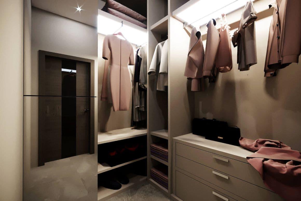 Дизайн гардеробной в квартире-студии