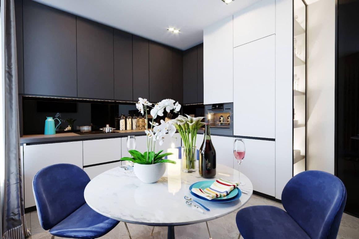 Дизайн интерьера кухни для квартиры-студии