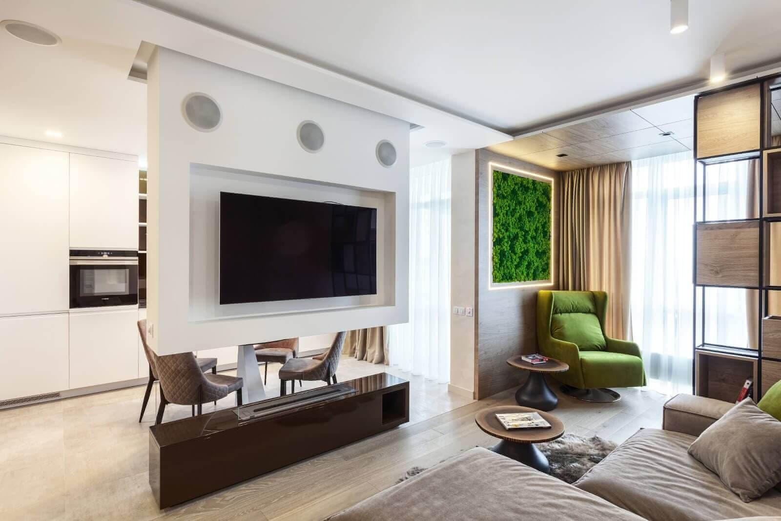 Дизайн совмещенной кухни и гостиной