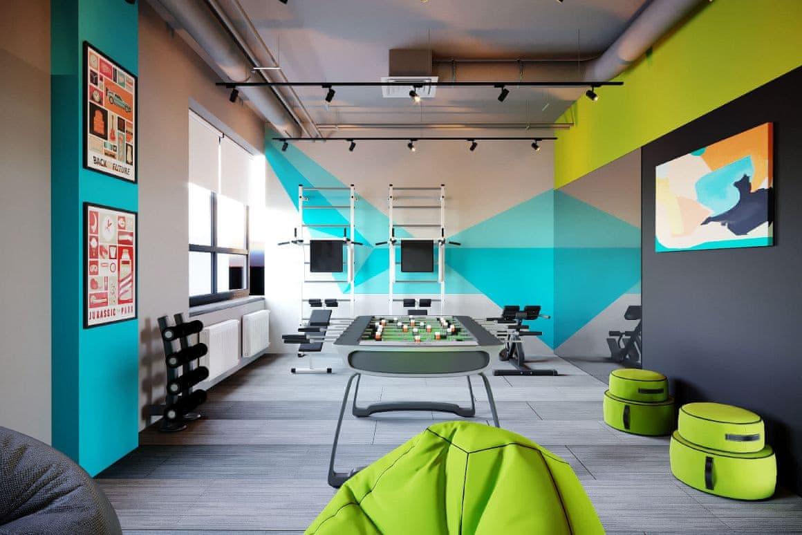 Дизайн спортивной зоны офисных помещений