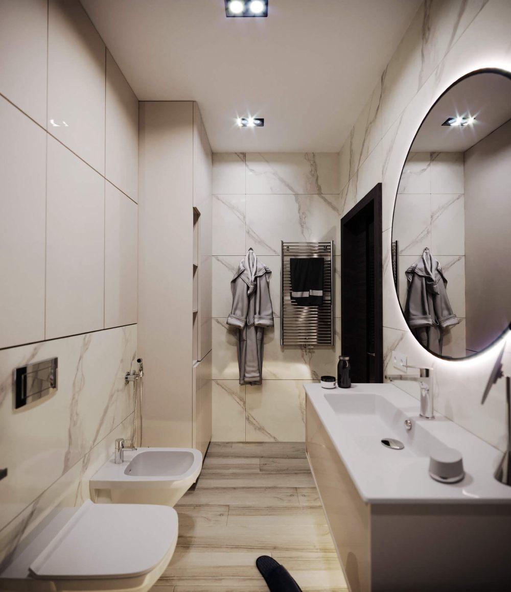 Дзайн туалета с умывальником