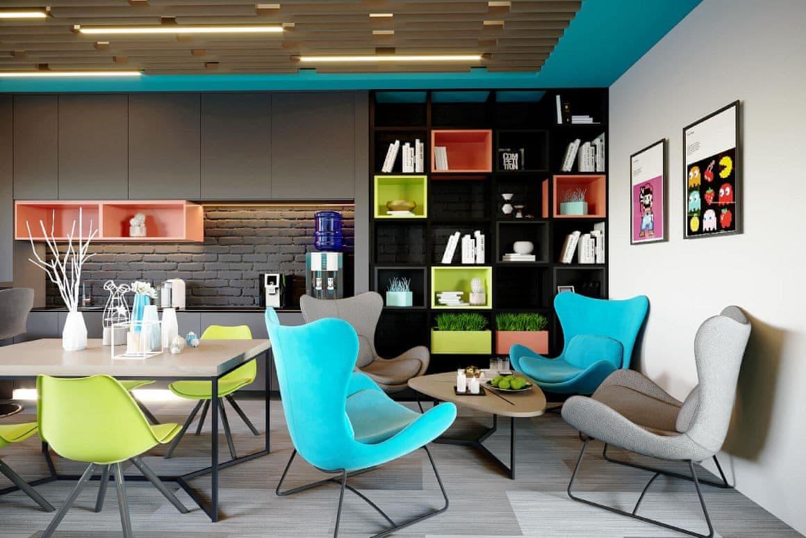 Дизайн интерьера зоны отдыха офисных помещений